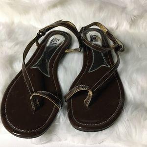 Kalli brown strap flats sandals size 11